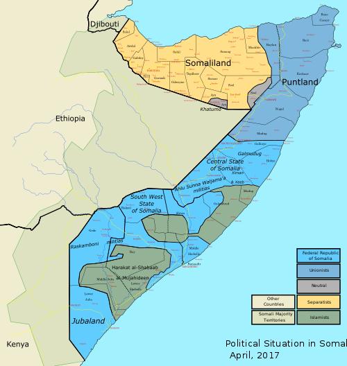 Карта современной политической ситуации в Сомали на 2017 год