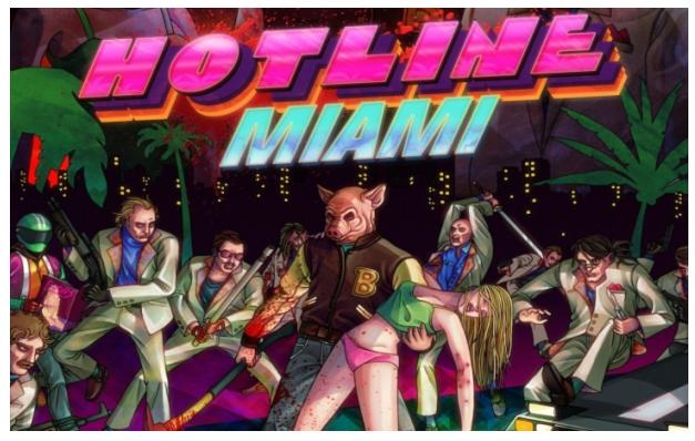 Обложка игры 'Ноt Miami'. Разработчики Юнатан Сёдерстрём и Деннис Ведин