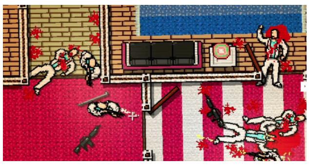 Скриншот из игры 'Hot Miami'. Разработчики Юнатан Сёдерстрём и Деннис Ведин