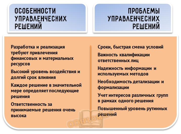 особенности проблемы управленческих решений