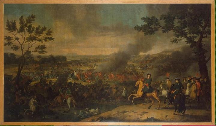 Петр I в Полтавской битве. Художник Луи Каравак 1718 год