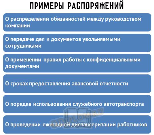Примеры распоряжений