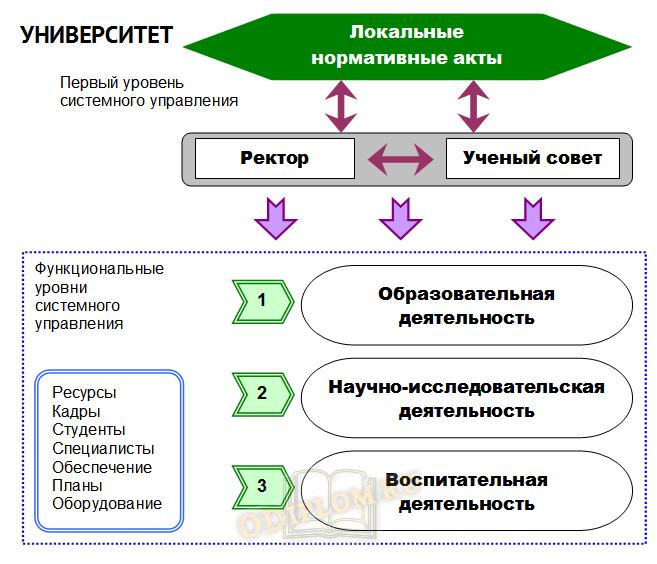 Схема системного управления в вузе