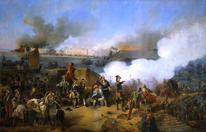 Штурм крепости Нотебург в 1702 году. В центре композиции изображен Петр I. Художник А.Е. Коцебу, 1846