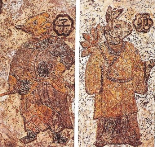 Стражи полуночи (слева) и рассвета (справа). династия Хань.